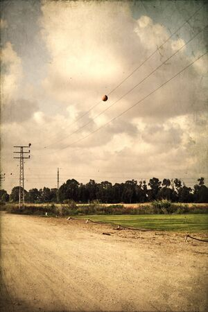 rural scenery old fashion textured picture Stock Photo