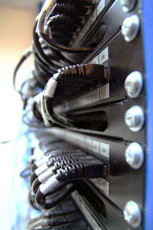 Ethernet panel with rj45 connectors Stock Photo