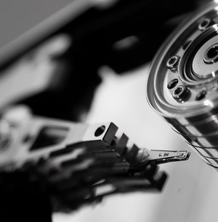 black and white version of the closeup of open harddisk Stock Photo - 1194911