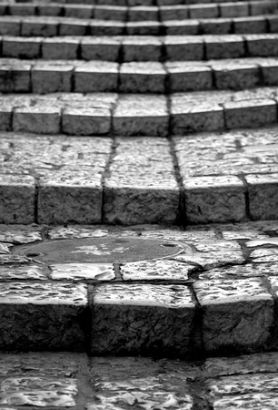 old stones of stairs black and white version Stock Photo