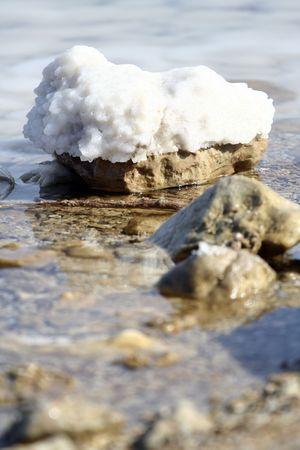 salt on the stone of Dead sea Israel