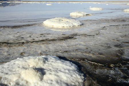 salt islands, Dead sea Stock Photo