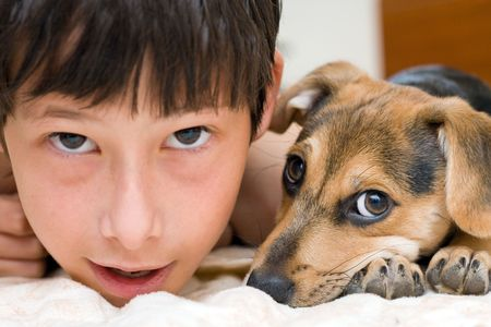 the best friends - child and his pup Stock Photo