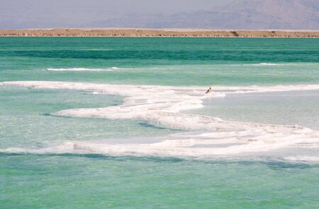 rock bottom: salt of Dead sea Israel