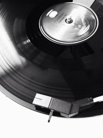black: Black and white image of the vinyl player