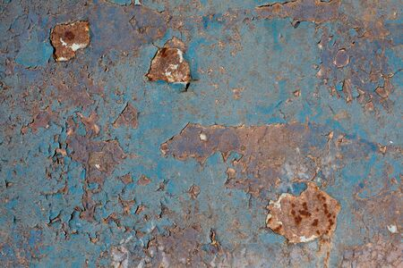 fragment of the old metallic surface, old blue texture photo