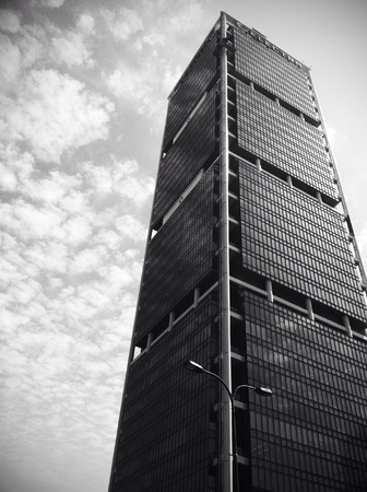 high contrast: Black and white image of the modern business oriented building in TelAviv   Stock Photo