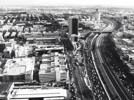 bird of israel: Black and white high contrast image of TelAviv taken from above Stock Photo