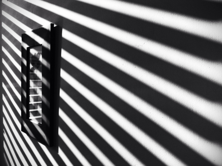 parallelism: Black and white image of the parallel lines of the shadow Stock Photo