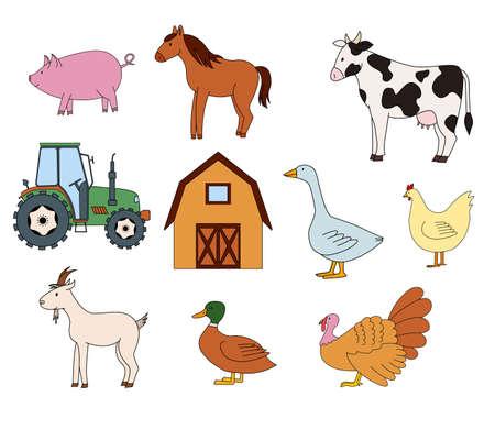 Farm animals, barn and tractor.