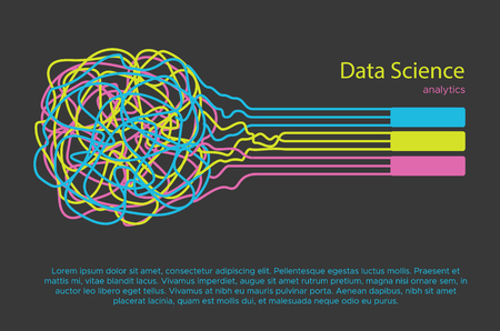 Big data science vector illustration. Machine learning algorithm for information filter and anaytic in flat doodle style Illusztráció