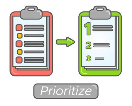 Time management goal priorities. Task priority plan concept design. Prioritize agenda.