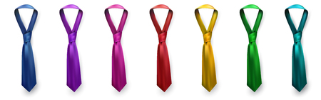 Realistic vector silk satin tie set. Male necktie for business and formal clothing accessory attire, men fashion style trend. knot teal red purple pink yellow green navy blue.