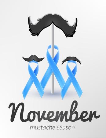 Prostatakrebs Bewusstsein Blue Ribbon Monat November Vektorgrafik