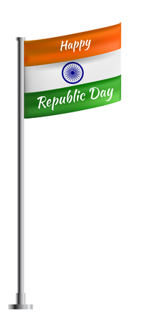 India Republic Day poster or greeting card. With green orange and white flag and blue wheel