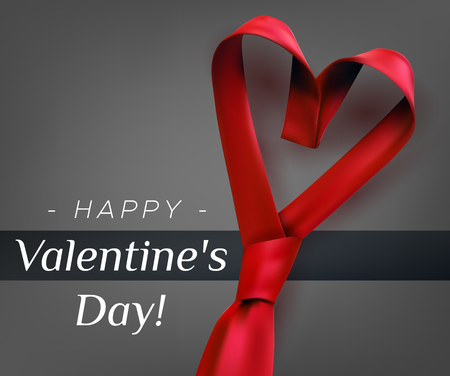 Valentines day poster greeting card design with heart shaped tie. Mens red necktie formal love concept.