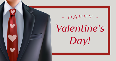Happy Valentines Day greeting card with formal suit and men with red heart necktie. For formal office greetings Stock Illustratie