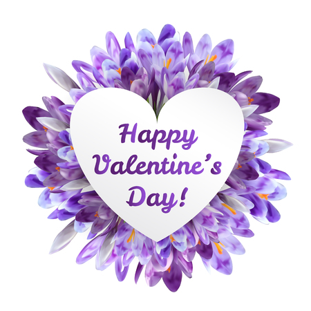 Valentines day greeting card with crocus and saffron purple flowers and heart shaped copy space