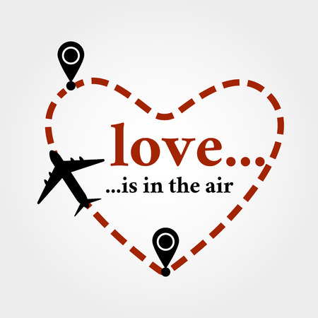 Valentines day postcard. Greeting card with love is in the air quote and heart shaped flight track and airplane. Symbol of love and honeymoon