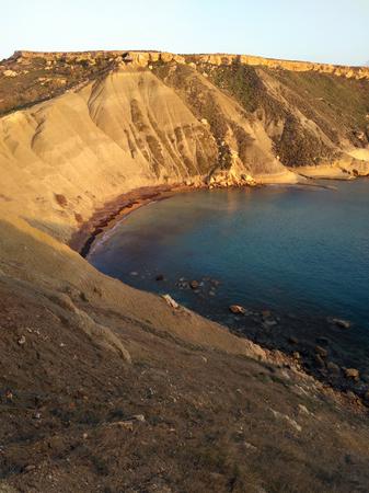 Seashore with rocks on Malta Stockfoto