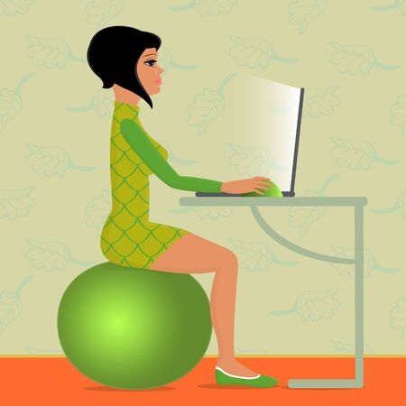 illustration of young woman sitting on fitness ball and working with computer Vector