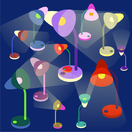 colorful table-lamps on dark-blue background. Vector illustration.