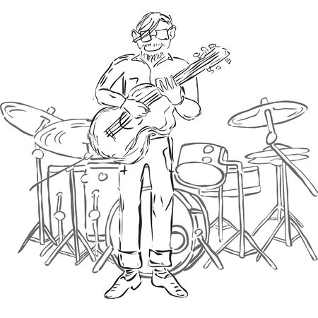 rehearsal: Vector Illustration of hipster playing guitar and with drum set on background. Monochrome.