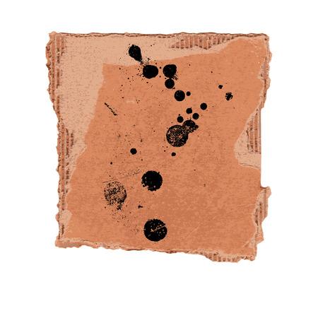 torn cardboard: Grunge texture with ink blots and splatter on torn cardboard background vector illustration Illustration