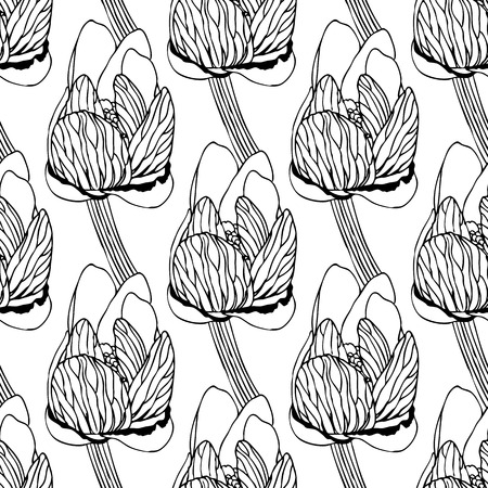 replication: Seamless floral pattern of spring flowers vector illustration. For continuous replication. Monochrome