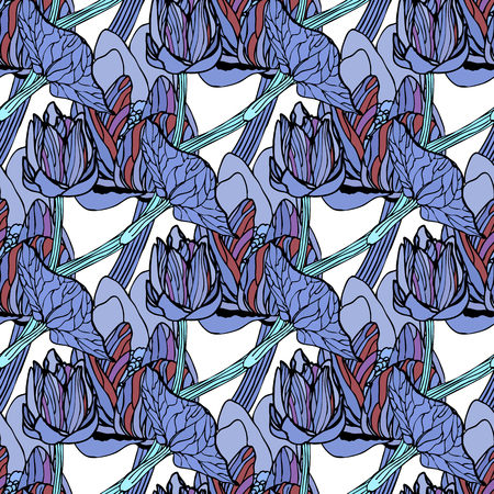replication: Seamless floral pattern of spring flowers vector illustration. For continuous replication. Illustration