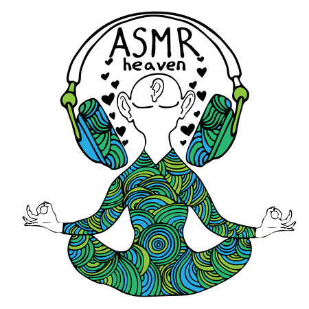 Abstract vector illustration of a man with headphones in zentangle style. Black outline. ASMR heaven icon. Can be used as CD cover, print etc.  イラスト・ベクター素材