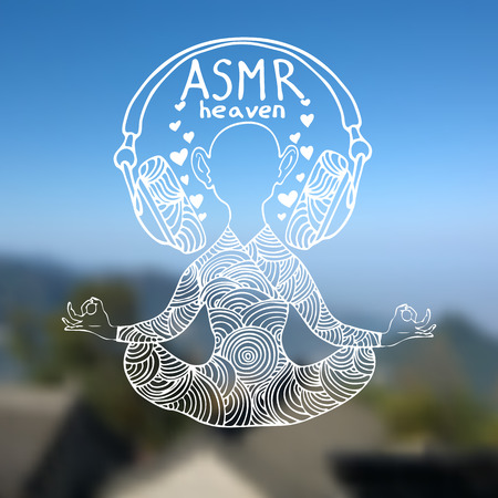 Abstract vector illustration of a man with headphones in zentangle style. Blurred background with sky and mountains. White outline. ASMR heaven . Can be used as CD cover, print etc.