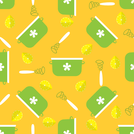 seamless pattern with cookware in flat style with yellow background. vector illustration Vector