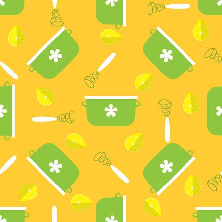 cookware: sin patr�n, con utensilios de cocina en estilo plano con fondo amarillo. ilustraci�n vectorial Vectores