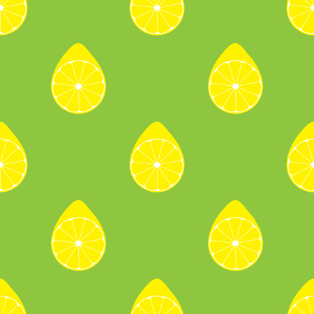 seamless pattern with lemons in flat style with green background. vector illustration Vector