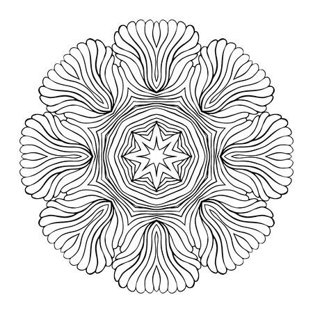 ottoman fabric: Mandala Round Monochrome Zentangle Pattern Vector Illustration