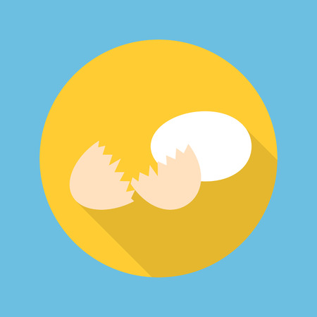 eggshell: egg and eggshell icon in flat style with long shadow vector illustration