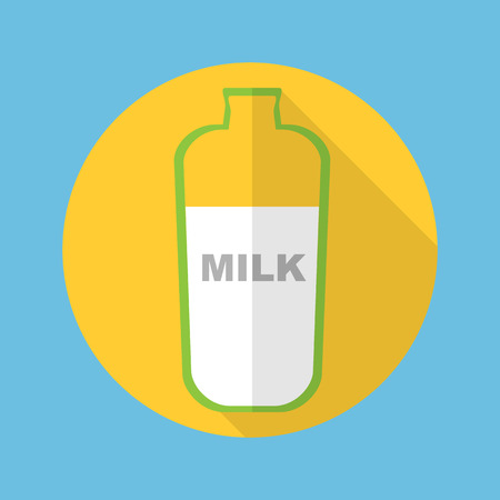 glas: bottle of milk icon in flat style with long shadow vector illustration