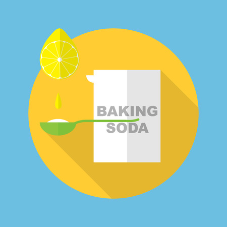 baking soda box with spoon and lemon icon in flat style with long shadow vector illustration Ilustracja