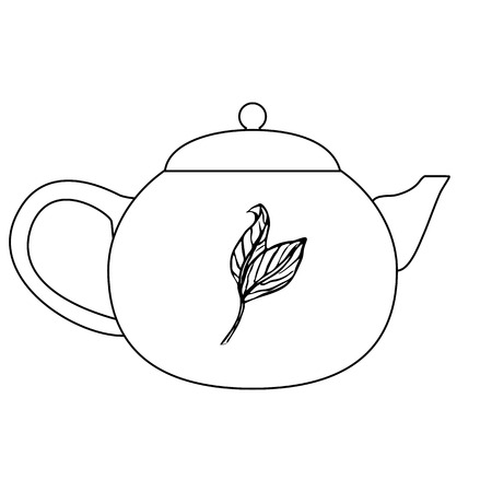 tea ceremony: tea ceremony tea pot vector illustration. monochrome black and white