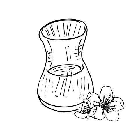 glas: turkish tea cup vector illustration. monochrome black and white
