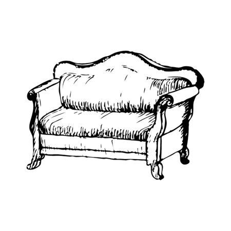 soft furnishing: soft antique vintage lounge monochrome vector illustration