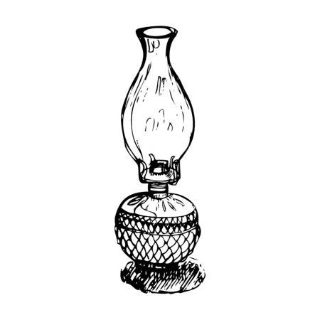 home furnishings: antique vintage oil lantern monochrome vector illustration Illustration