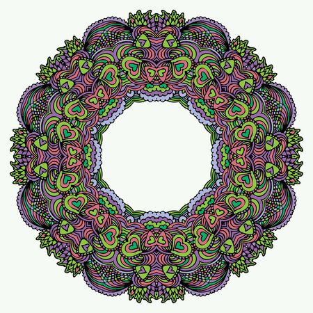 colorful frame: Mandala Round Colorful Zentangle Ornament Pattern Vector Illustration Illustration