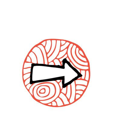 forward icon: zentangle arrow forward icon vector illustration. red and black colors