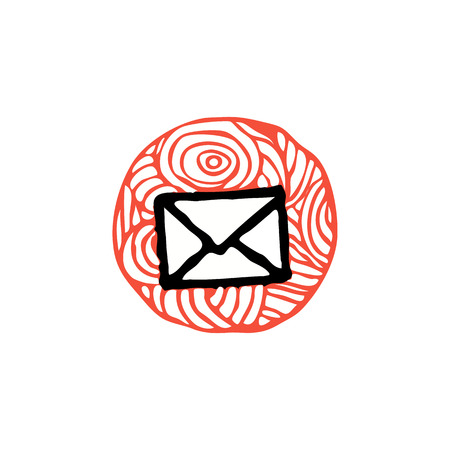 e ink: zentangle e-mail icon vector illustration. red and black colors