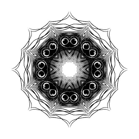 balck: Mandala Round Balck Ethnic Pattern Illustration