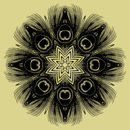 balck: Mandala Round Balck Ethnic Pattern Vector Illustration