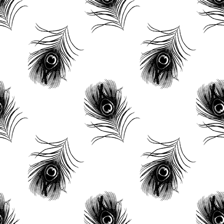 replication: seamless pattern with black peacock feathers vector illustration Illustration