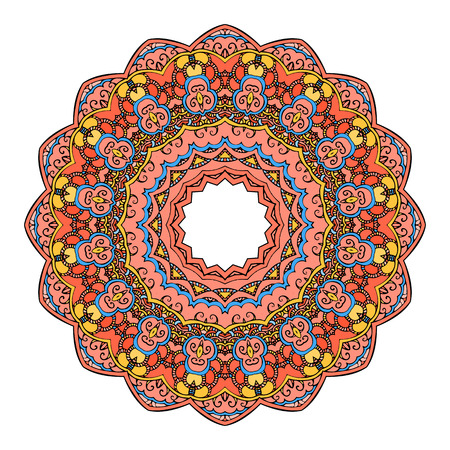 colorful frame: Mandala Round Colorful Ornament Vector Illustration Illustration